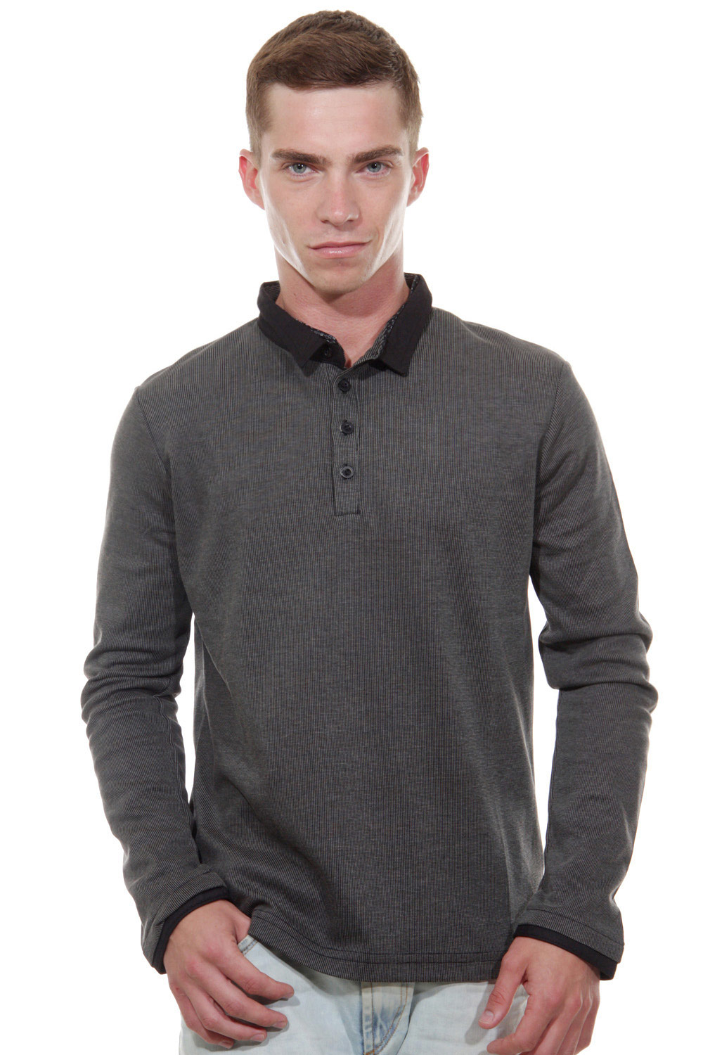 EXUMA polo long sleeve top slim fit at oboy.com