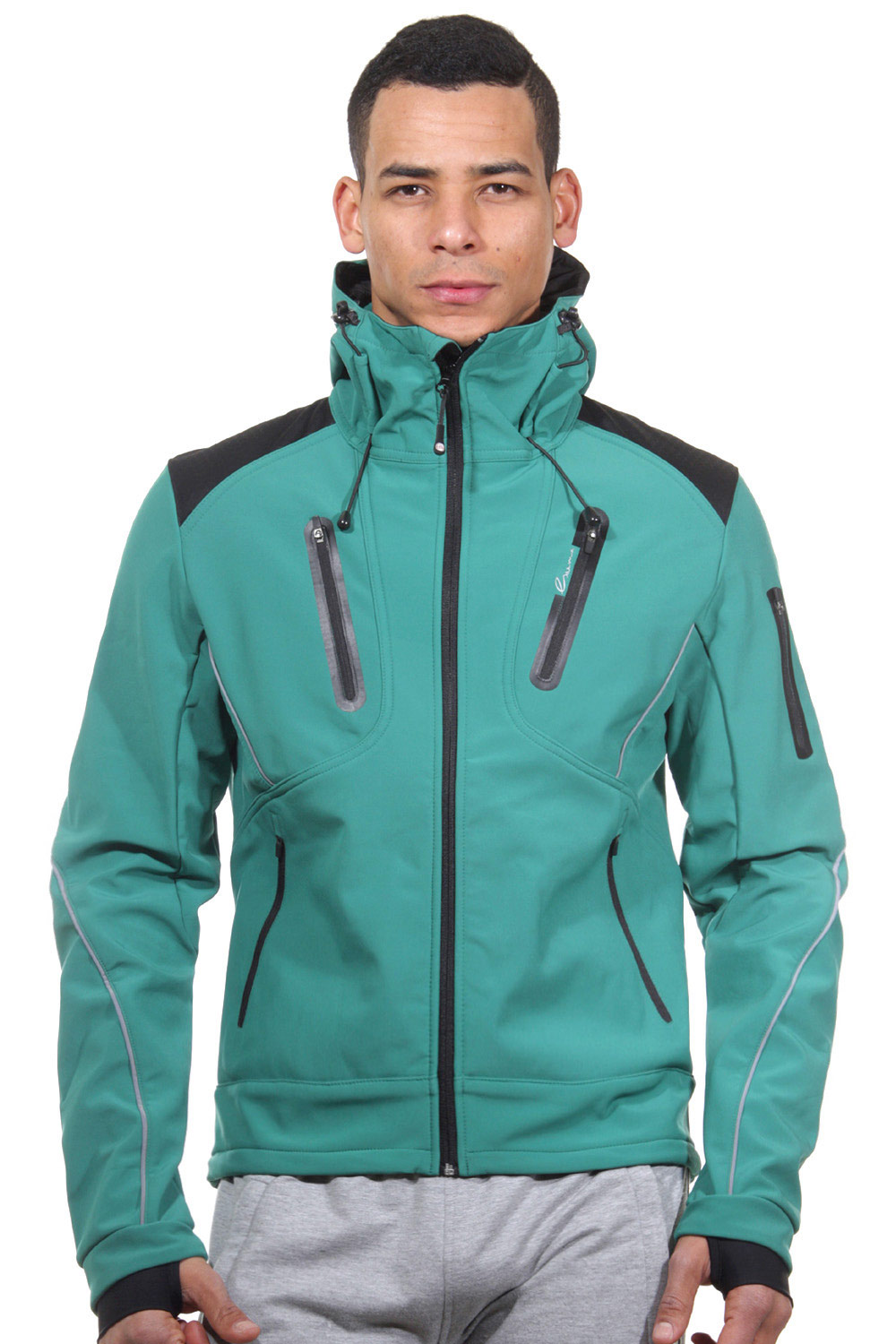 EXUMA ACTIVE hoodie softshell jacket slim fit at oboy.com