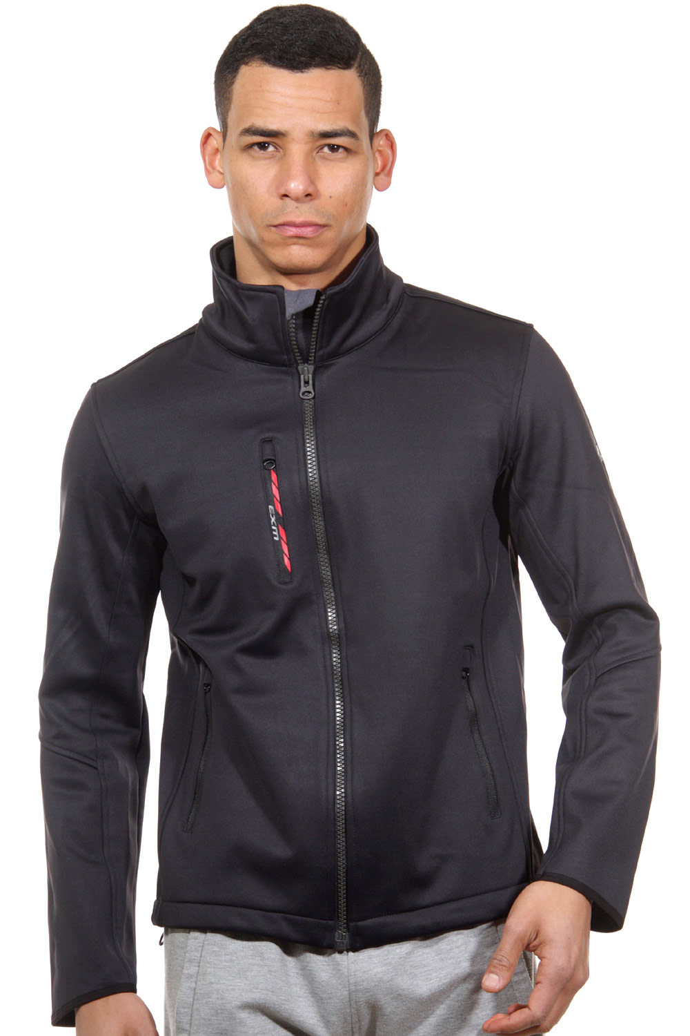 EXUMA ACTIVE softshell jacket with stand up collar slim fit at oboy.com