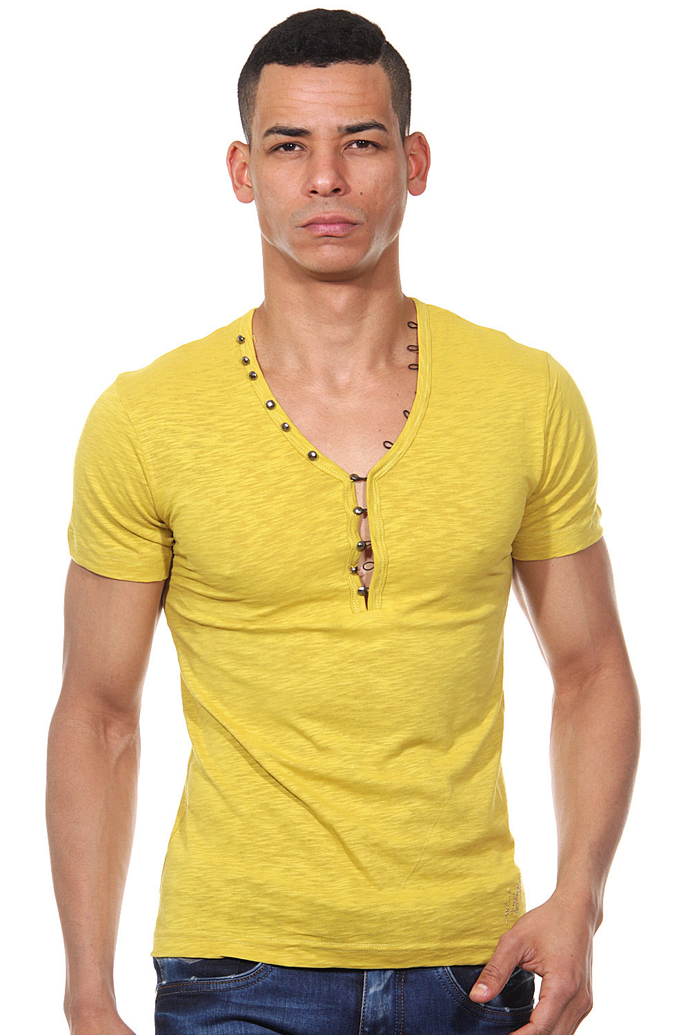 KINGZ henley t-shirt slim fit at oboy.com