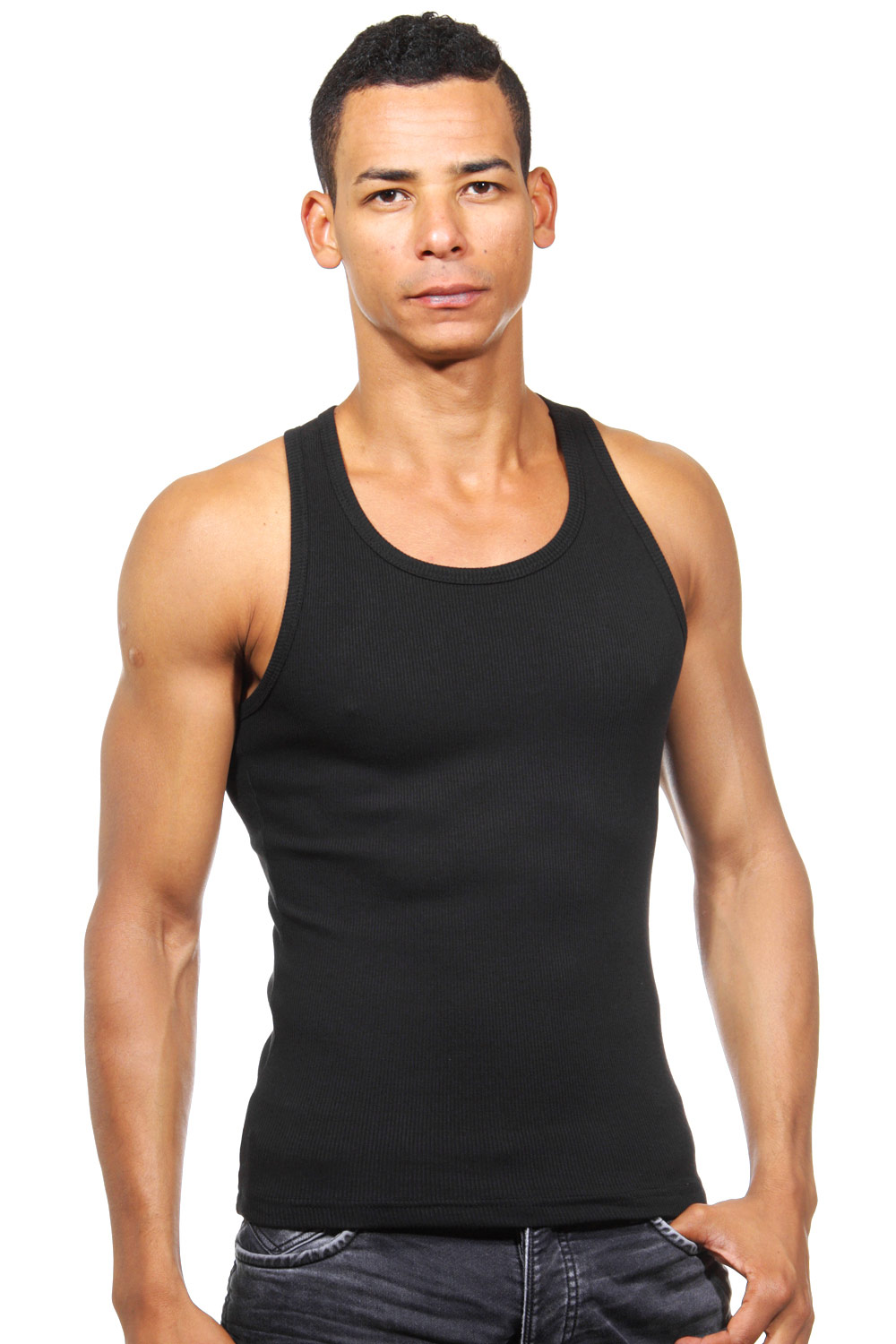 DARKZONE ribbed tank top slim fit at oboy.com
