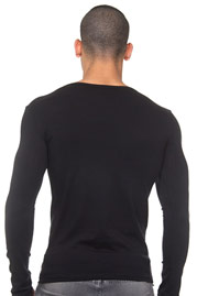 L'HOMME INVISIBLE Fine cotton T-shirt col rond ML at oboy.com