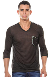 R-NEAL long sleeve top v-neck 3/4 arm slim fit at oboy.com