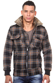 CATCH jacket with faux fur collar slim fit at oboy.com