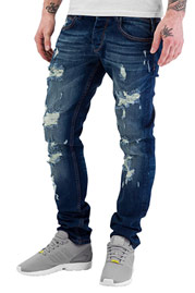 JUST RHYSE Destroyed Straight Fit Jeans Blue at oboy.com