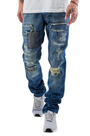 JUST RHYSE Patch Straight Fit Jeans Blue at oboy.com