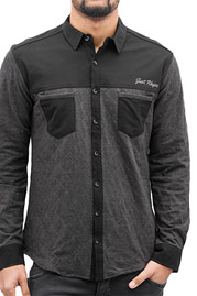 JUST RHYSE Quilted Shirt Black at oboy.com