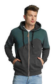 JUST RHYSE Palo Verde Zip Hoody Anthracite/Green at oboy.com