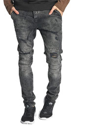 JUST RHYSE Destroyed Straight Fit Jeans Grey at oboy.com