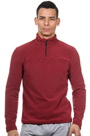EXUMA ACTIVE fleece sweater with stand up collar slim fit at oboy.com