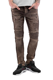 2Y Quilted Skinny Jeans Brown at oboy.com