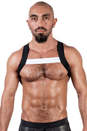 MISTER B URBAN X-Back Club Harness Black White at oboy.com
