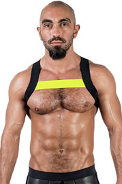 MISTER B URBAN X-Back Club Harness Black Neon Yellow at oboy.com